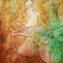 John Dopiera, 80x80 cm, watercolor, acryl, canvas