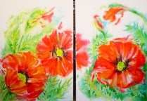 Poppies double painting, acrylic colour, canvas