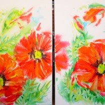 Poppies - Diptych, 70x100 cm, acryl, canvas