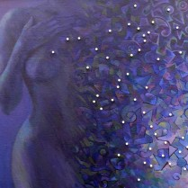 Pastel body, 80x100 cm, oil, pearls, canvas