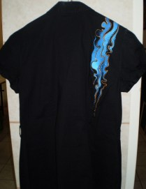 Black shirt with gold & blue ornaments, cotton