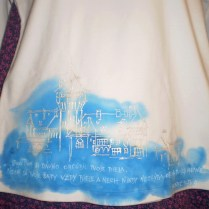 White Shirt with a city & fragment from Bible, cotton