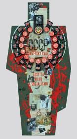 "Terč č.2. SOVĚTSKÝ SVAZ - ZÁŠTITA MÍRU A SOCIALIZMU 122,5x60x5, sololit na ráme, akryl, asambláž / ready-made Obraz o totalitných komunistických praktikách a spôsoboch vládnutia v Sovietskom zväze, od krvavých diktátorov Lenina a Stalina, po disidentov Sacharova a Solženicyna Мішень №2. РАДЯНСЬКИЙ СОЮЗ - ЗАХИСНИК СВІТУ ТА СОЦІАЛІЗМУ 122,5x60x5, оргалит на рамі, акрил, aссамбляж / ready made Оригінал про тоталітарні комуністичні практики і методи управління в Радянському Союзі від кривавих диктаторів Леніна і Сталіна до дисидентів Сахарова і Солженіцина Target No.2: THE SOVIET UNION – ""BULWARK"" OF PEACE AND SOCIALISM 122,5x60x5, fibreboard on a frame, acrylic, assemblage / ready-made A picture of totalitarian communist practices and régime in the Soviet Union, from the time of the bloody dictators Lenin and Stalin up to dissidents Sakharov and Solzhenitsyn"