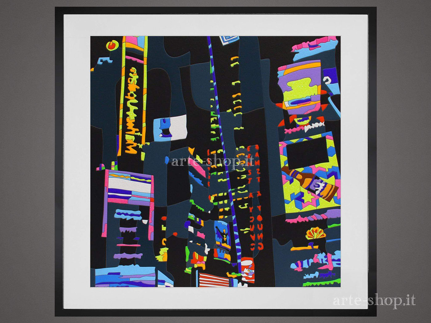 Serigrafia Ugo Nespolo - City by night