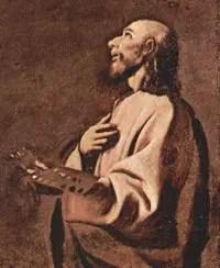 Posible autorretrato de Zurbarán. Detalle de San Lucas en éxtasis