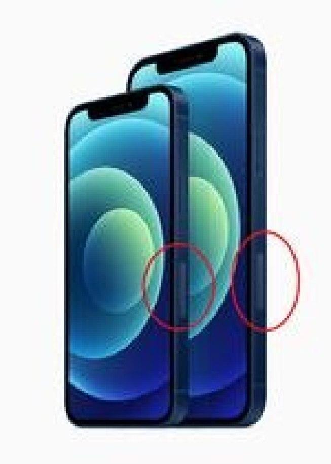 En esta imagen vemos la singular sección que tienen los iPhone 12 en el lateral derecho.