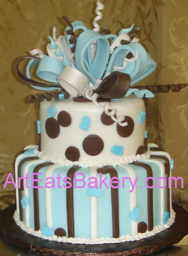Two Tier Brown And Blue Polka Dot And Stripe Baby Shower