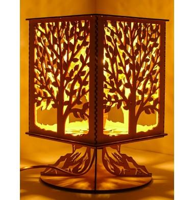 lampe bois sur pied arbre de vie