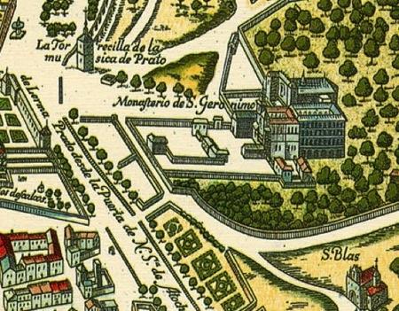 El Monasterio de  los Jerónimos en el plano de Mancelli-Witt, hacia 1635