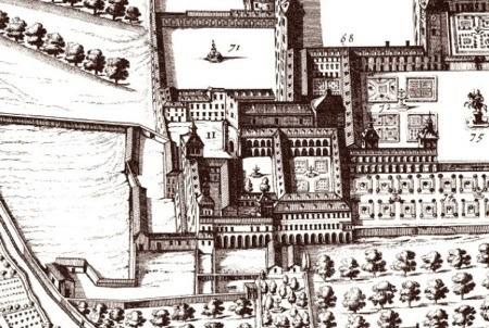 El Monasterio de los Jerónimos y el Palacio del Buen Retiro en el plano de Teixeira, 1656.