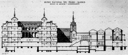 Proyecto de ampliación del Museo del Prado de Fernando Chueca Goitia y Rafael Manzano Martos, 1972. El Claustro a la derecha de la imagen.