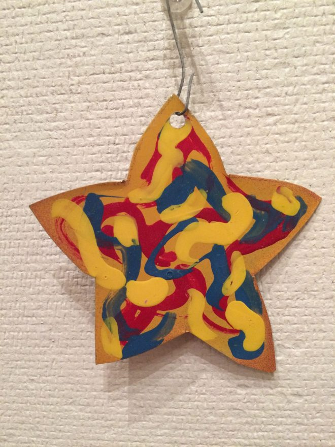 enamel painted tin ornament