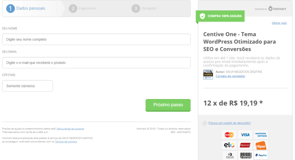 Pagina de Checkout do tema Centive One