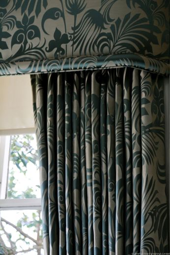 Example of our beautiful, bespoke curtains, tiebacks, pelmets, swags & tails, and blinds.