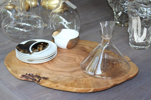 Olive wood serving board, canape plates hand painted in platinum and gold, artisan blown glass decanter
