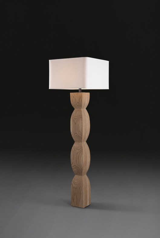 "CORTONA Floor Lamp, Verellen  The city of Cortona - from Umbrian to Ertuscan to Roman city - layers of architecture, history + legend are represented in the Cortona floor lamp.  Solid, proud - with a 'totem-like' quality. Sandblasted, aged oak | choice of 4 shade colors 76""h x 22"" square (7"" at base) Retail $ 2500."