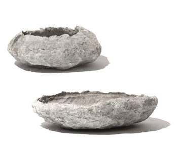 new from pennoyer newman - the alpine bowls - we can not wait to get these planted up (I'm seeing it on an old new england stone wall with moss + small alpine plants...but since the shop is full sun I will need to carefully consider that vision)