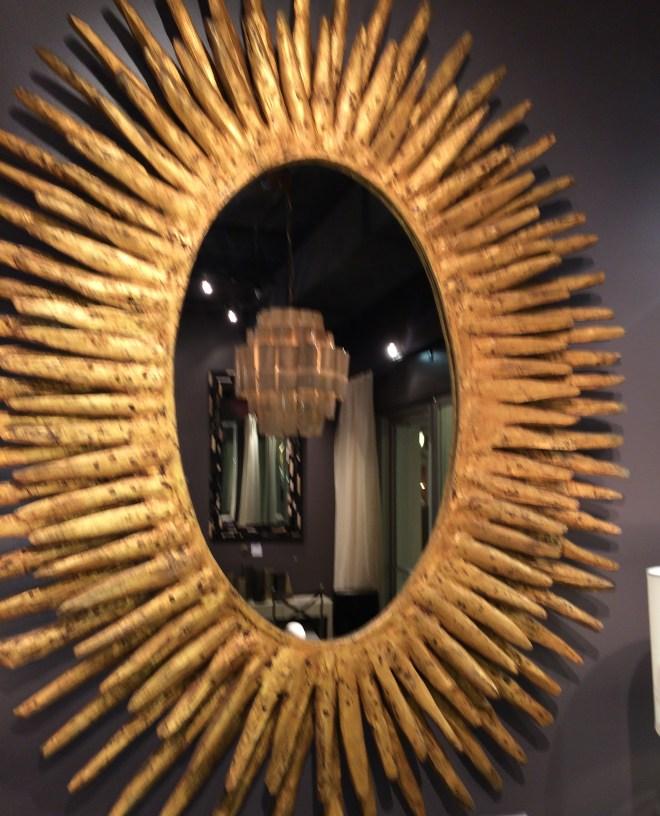 oval rays distressed gold teak mirror