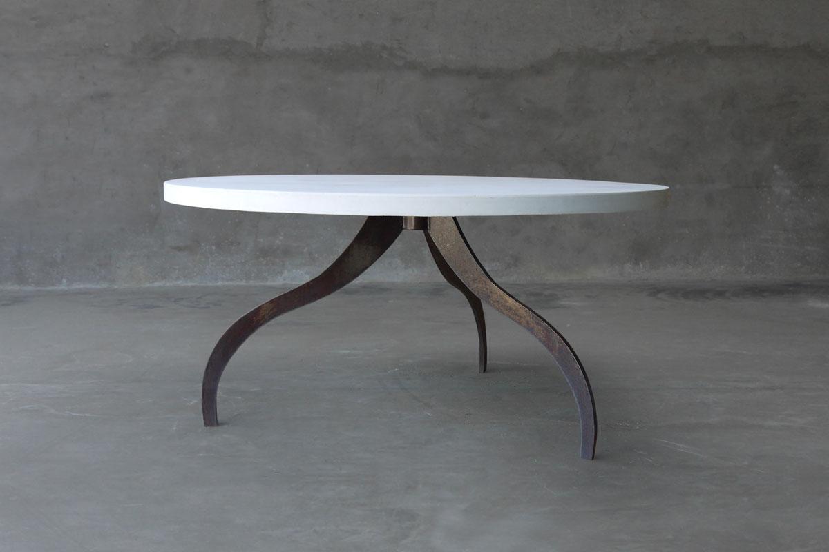 TABLE METAL PLOW BASE CONCRETE TOP