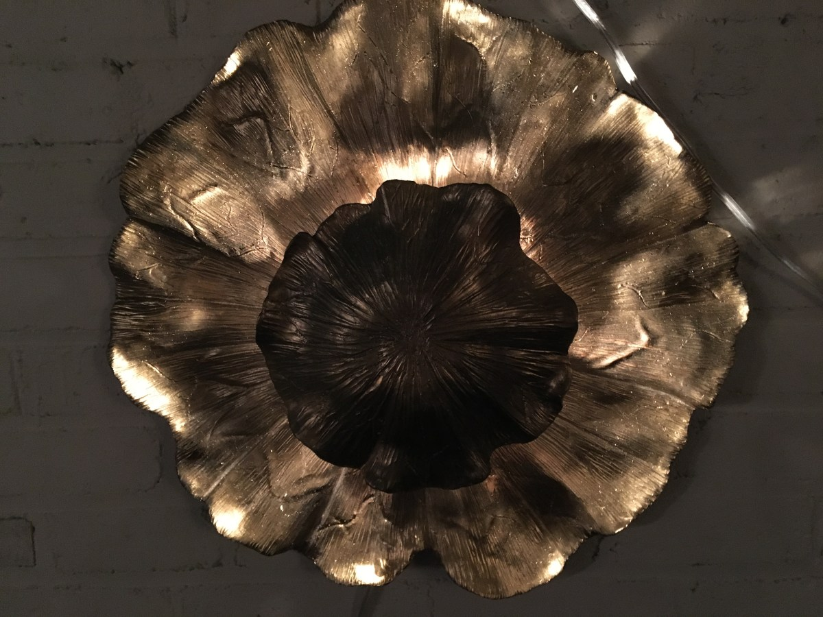 lotus blossom sconce gold resin