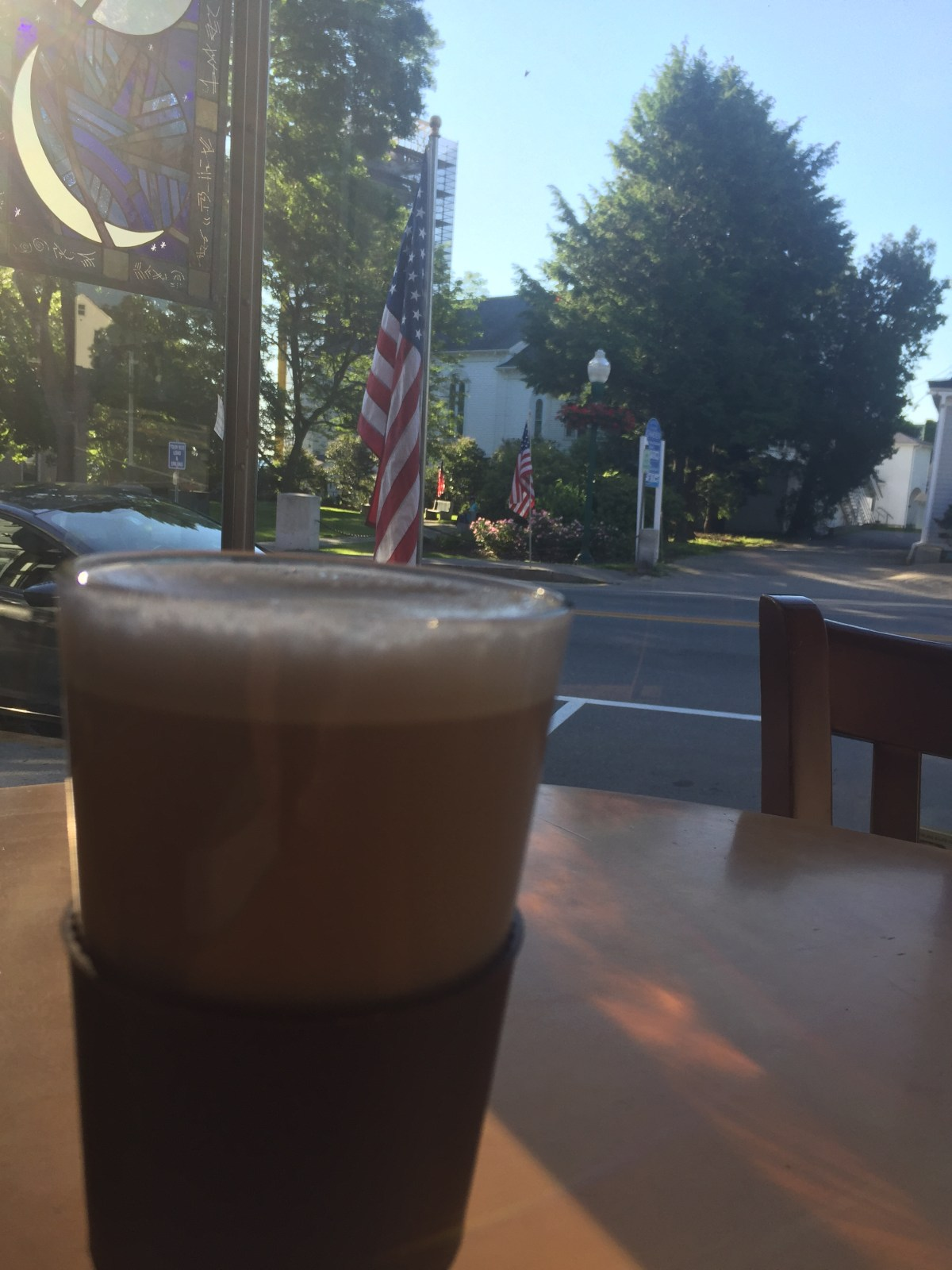 zoots-latte and flag-camden-maine