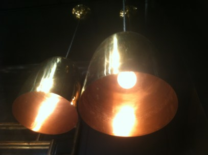 """warm glow of copper a unique mix of brass + copper bell-shaped pendant lights available in 2 sizes brass canopy RETAIL 12""""h x 9.5"""" diameter $ 430. 10""""h x 8"""" diameter $ 330. 20% off orders placed Nov. 1 - Nov 2 30% off store samples, if available"""