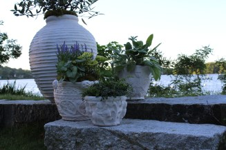 beehive, ny botanical, morgan + frick planters in limestone