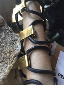 black leather + brass clip bracelets
