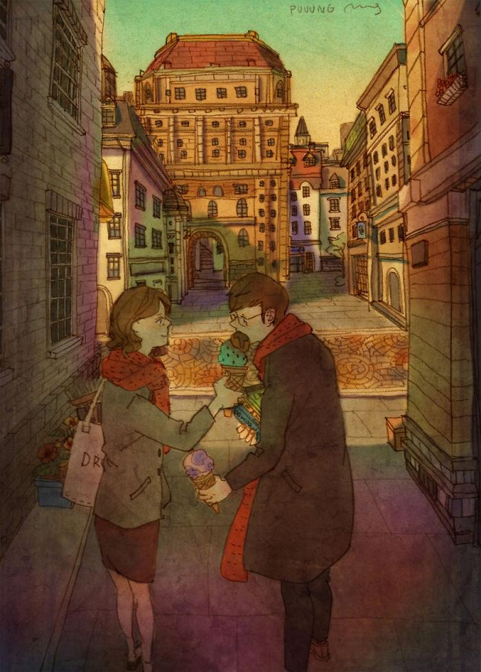 Ilustraciones amor pareja de Puuung