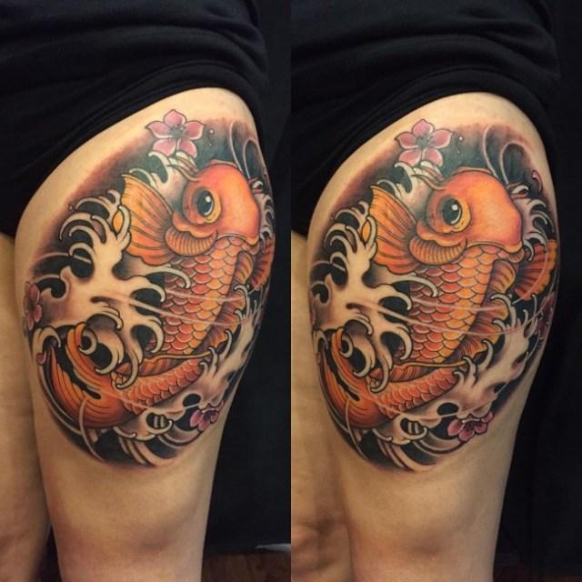 ejemplos tatuajes de peces 3 koi
