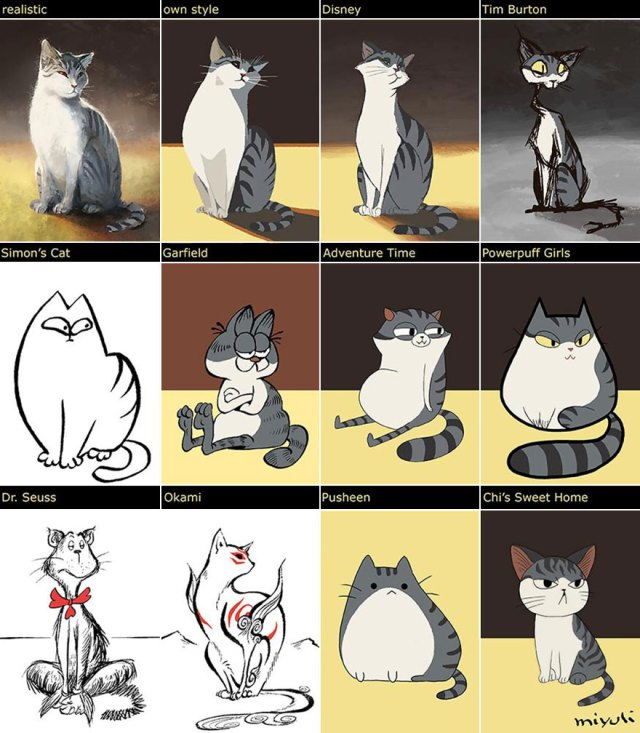dibujos gatos distintos estilos