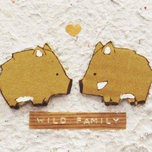 Quadretto famiglia di cinghiali