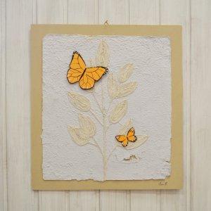 Quadretto farfalle arancioni
