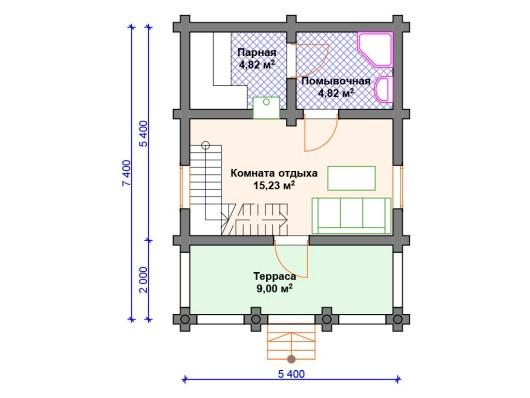 Баня-дом 6х8.5м Б-048