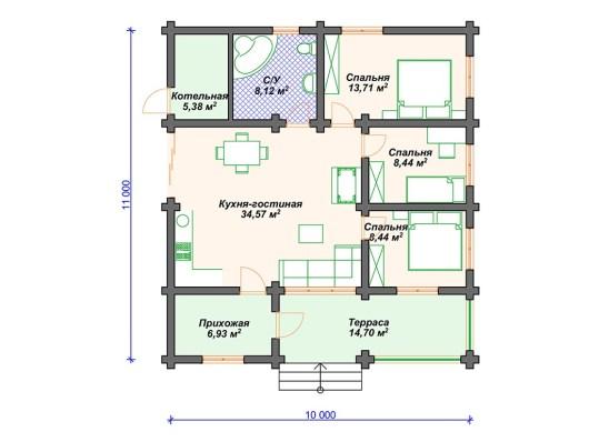 Деревянный дом 11х10 ДО-168