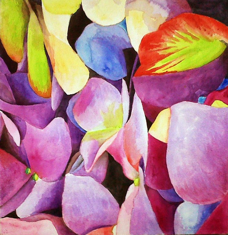 hortensia morada _ ARTISTA Jose Miguel Ayala Valdivieso_pintor_pintura acrílica sobre tela