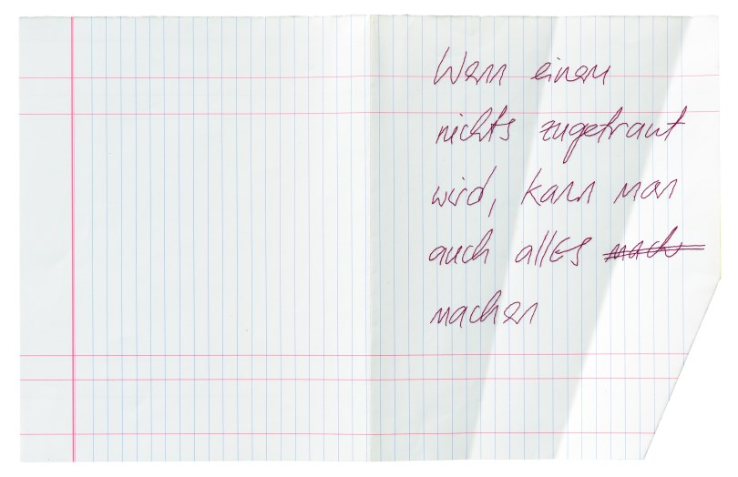 Anna Reisenbichler (geb. 1978): EJ (Elfriede Jelinek), 2018, Seidenfaden in Papier gestickt © Anna Reisenbichler