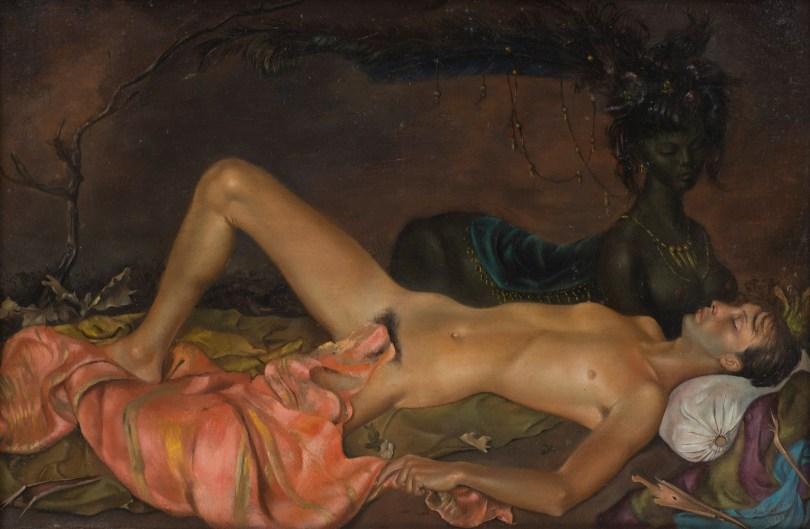 Leonor Fini, Erdgottheit, die den Schlaf eines Jünglings bewacht, 1946, Öl auf Leinwand, 27,9 x 41,3 cm, © Weinstein Gallery, San Francisco and Francis Naumann Gallery, New York / VG Bild- Kunst, Bonn 2020