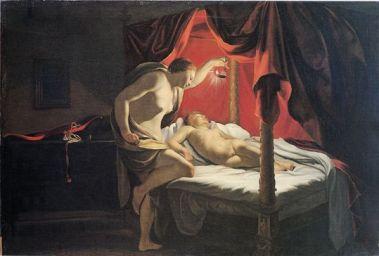 Psyché (l'âme) découvre Eros (l'amour) par S.Vouet -XVII-