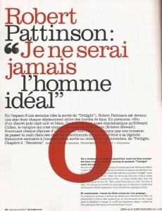 "ROBERT PATTINSON EST ""JEUNE ET JOLIE"""