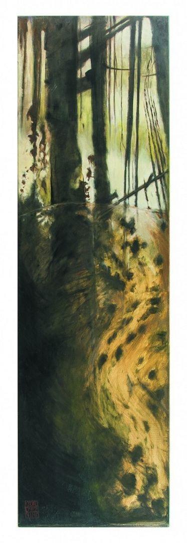 Forrest, misty morning / Wald, Nebelmorgen, Öl auf Leinwand 200 x 60 cm, Wien 2013