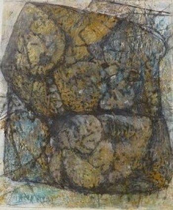 abstraktes Bild in Braun und Grau