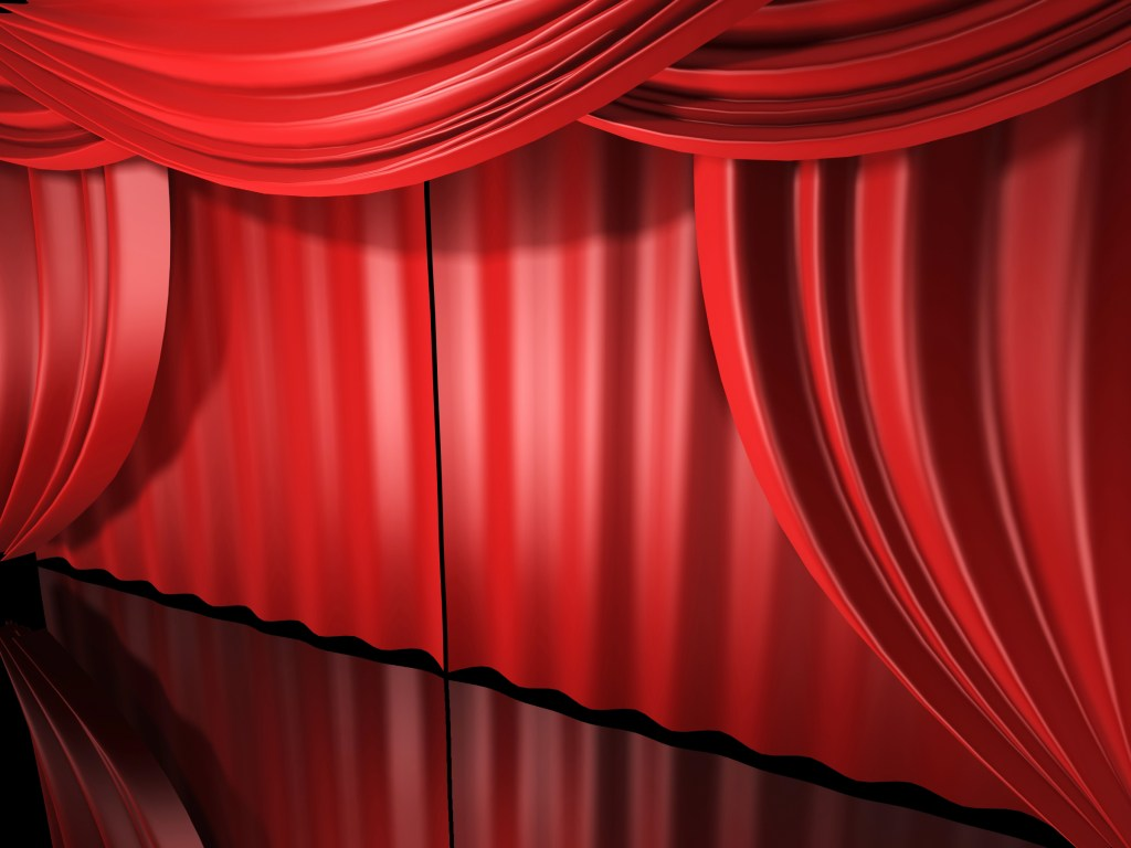 red stage drapes