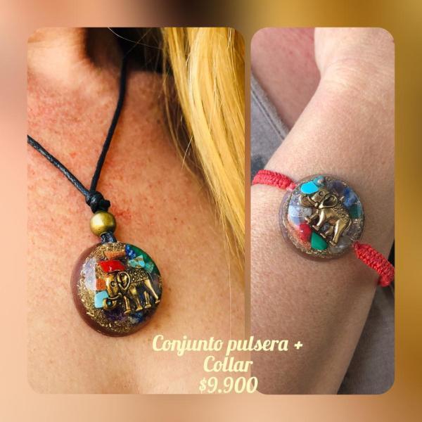 Conjunto Orgon Collar y Pulsera Elefante