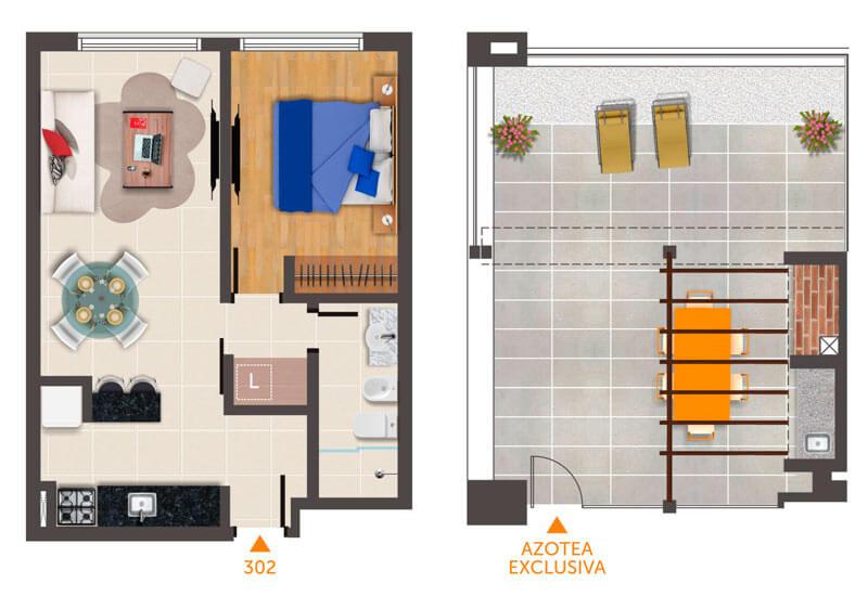 Horizonte Natural Plano 1 Dormitorio Unidad 302 con azotea privada
