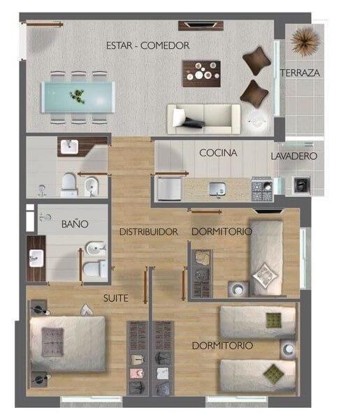 Town Park Plano de unidad de 3 dormitorios