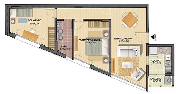 citadino oriental plano 2 dormitorios