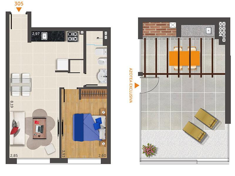 plano 1 dormitorio 305 penthouse