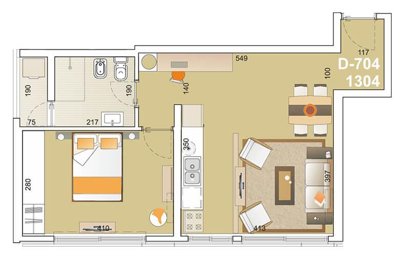 E-Tower Sky 1 dormitorio tipologia 04