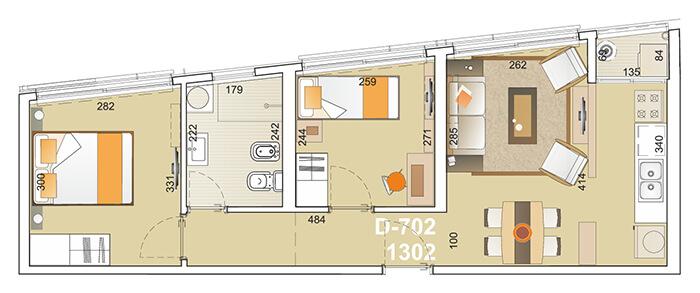 E-Tower Sky 2 dormitorios tipologia 02